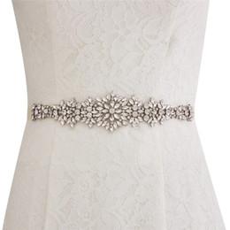 Fajín hecho cinta online-Nuevo Custom Made Wedding Belts Cinturón de satén con abalorios abalorios accesorios de boda Cinta nupcial Faja para vestidos de fiesta de bodas CPA1688