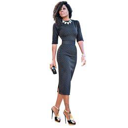 ff88939540bf HGTE 2019 OL pencil half sleeve dress Women Retro Patchwork Wear to Work  Business vestidos Office Bodycon Sheath Female Dress