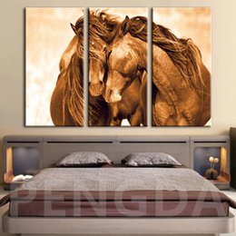 framed horse prints Coupons - Canvas HD Print Modern Painting Wall Brown Horse Art Landscape Poster Home Decor Animal Picture For Living Room Modular Framed