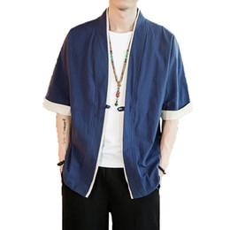 Cardigans en porcelaine en Ligne-ICPANS Hommes Coton Lin Veste Chine Style Kongfu Manteau Mâle Lâche Kimono Cardigan Manteau Open Stitch Manteau Hommes Coupe-Vent 5XL