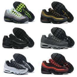 Zapatillas de deporte de moda de los hombres más calientes online-2019 Nike Air Max 95 shoes New Airmax 95 aniversario hombres corriendo zapatos deportivos baratos nuevo cojín de aire Negro único gris azul para hombre diseñador de moda zapatillas