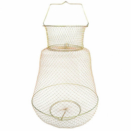 steel netting Promo Codes - Foldable Portable Steel Wire Fishing Pot Trap Net Crab Crawdad Cage Fish Basket