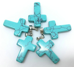gemstone crosses wholesale Coupons - TURQUOISE GEMSTONE Cross Pendants Loose Beads Silver Plated Hook Fit Bracelets and Necklace DIY JEWELRY MAKING