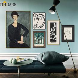 Esboços de fotos on-line-Clássico Amedeo Modigliani Picasso Obras de Arte Esboço Pintura Da Lona Pintura Poster Parede Pictures Sala Decoração de Casa