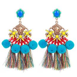 boucles d'oreilles laine Promotion Bohême résine multicouches glands boucles d'oreilles boule de laine Vintage ethnique Big Dangle boucles d'oreilles déclaration bijoux pour femmes gros DHL