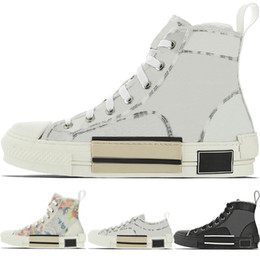 Cime bianche alte online-New High-Top Flowers Technical B23 Mens Designer Sneaker Womens Fashion Luxury B22 B23 B24 Oblique Transparent White Black CD Casual Shoes