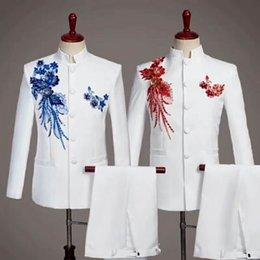 casaco casamento chinês homens Desconto Moda masculina bordada terno chinês terno de duas peças (jaqueta + calça) ternos de negócio dos homens apoiar vestido de casamento do noivo personalizado