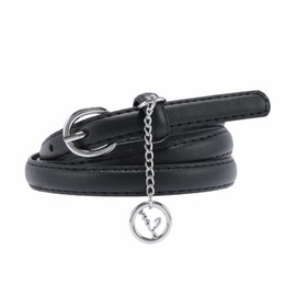 skinny black leather belt Coupons - 1 Pcs Simple Women Waist Belt Letter Round Pendant Casual Skinny Thin Leisure Leather Candy Color Girls Fashion Belts