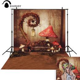 Fotografia di funghi online-Allenjoy Red Mushroom Fairy Wonderland Simpatica cabina fotografica per bambini per lo sfondo fotografico in studio fotografico