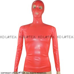 Camisa de Látex Sexy Vermelho Com Capuz E Fecho na parte de trás da Máscara Fetiche Roupas de Borracha Plus Size YF-0008 de