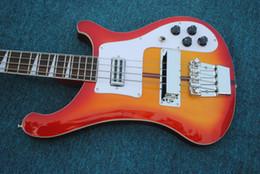 Guitarra china sunburst online-Envío gratis, Custom RIC 4 cuerdas Cherry Sunburst 4003 Bajo eléctrico Cromo Hardware Triángulo MOP Diapasón Incrustación Impresionante China Gu