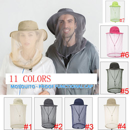 beekeeping equipment Coupons - 11 Colors Head Net Mesh Face Protection Outdoor Fishing Beekeeping Beekeeper 360 Anti-mosquito Bee Bug Insect Fly Mask Cap Hat Equipment