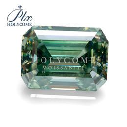 Argentina Moda y de lujo piedras de corte esmeralda de color 6x9mm 2.5ct moissanite piedras preciosas de diamantes verdes Suministro