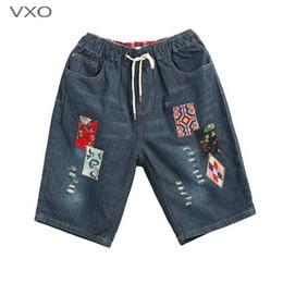 patch jeans en dentelle Promotion VXO 2019 Vintage Patch Jeans Femmes Dentelle Élastique Genou Longueur Jeans Trous Lavés Trous Pantalon En Denim Brodé Ripped