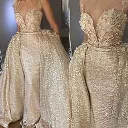 plus size maternity spring summer dresses Promo Codes - Shiny Gold Abiye Mermaid Long Evening Dresses With Detachable Train Flower Lace Evening Gowns Sequin Sexy Dress