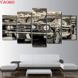 diamantes de carro cheio Desconto Atacado pintura diamante 5 pcs Retro kits de kits de carro esportivo diamante bordado squareround completo brocas Home Decor Wall Art Pictures