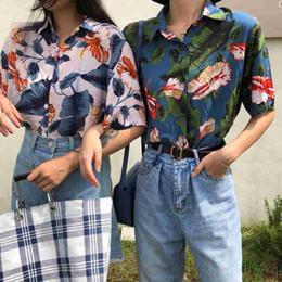 2019 strandblusen frauen Harajuku Frauen Bluse und Tops gedruckt Vintage koreanische Kurzarm Casual Blusas Hawaiian Beach weibliche Dame Shirts günstig strandblusen frauen