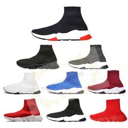 2020 New velocidade Trainers Knit Sock sapatos de luxo Mens Designer Shoes Womens Sneakers Cheap High Top Qualidade Casual sapatos tamanho 36-45 de