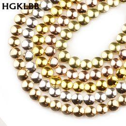 2020 contas de pedra redonda plana HGKLBB Natural Stone Rose Gold Silver Flat Round Hematita 8 milímetros 48pcs moeda perder Spacer Beads Para fazer jóias diy contas de pedra redonda plana barato