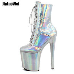 pole dancers Coupons - 2019 Sexy Stripper Dancer High Heels Platform Ankle Boots Short Boots Magic Color Lace Up Men's Pole Dancing Shoes Nightclub Silver