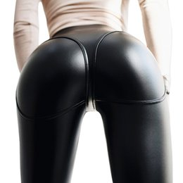 pantalones pitillo de piel sintética negro Rebajas Laamei 2019 Mujeres Push Up Leggings Hot Sexy Negro PU Faux Leather Zipper Leggings Cintura Alta Strtch Slim Skinny Pants Leggin