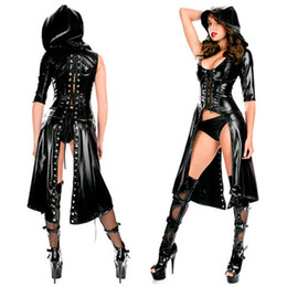 2020 catsuit dentelle xl Femmes Faux Cuir Capuche Combinaison PVC Cosplay Robe Gothique À Lacets Catsuit # R45 promotion catsuit dentelle xl