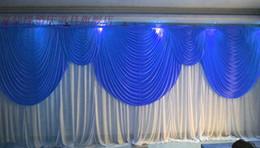 Véus de casamento azul-real on-line-6m / 20 pés (w) x 3m / 10 pés (h) Royal Blue com branco casamento cenário casamento cortina adereços véu do casamento de fundo 92