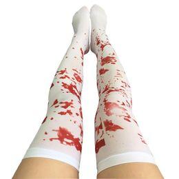 Cosplay de sangue on-line-Decoração de Halloween Sexy Cosplay listrada sobre o joelho Padrão Meias Sangue Forked óssea Cosplay Terror Meias sangue das mulheres