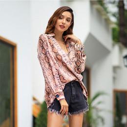 2019 yeni V Yaka uzun kollu gömlek dikiş yılan desen gevşek hırka moda bayanlar gömlek nereden