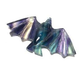 Talla de piedra animal online-Cristal Natural Fluorita Piedras Pequeños Animales Tallados Arco Iris Talla Fluorita Murciélagos En Venta