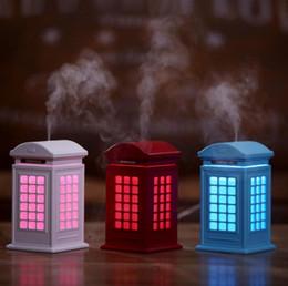 Mini nemlendirici Yaratıcı retro telefon kulübesi nemlendirici Sessiz gece lambası usb ofis hava temizleme püskürtücü nereden