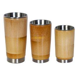 Vasos de copas de bambú online-Envío gratis creativo 304 acero inoxidable taza de agua original de bambú japonés japonés abierto gafas sin cubierta