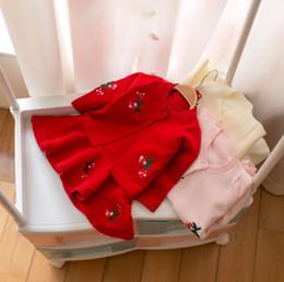tejer chalecos largos Rebajas Chirstmas niñas princesa trajes niño niños bordado floral de manga larga cardigan + jersey de punto chaleco vestido ropa de niña bebé F8808