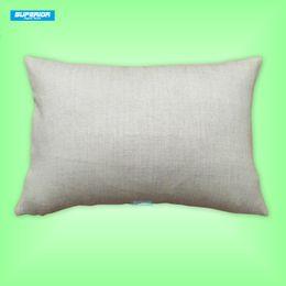 Полиграфия онлайн-30pcs 12x18 дюймов Поли хлопок смешал искусственную льняную наволочку пустой сырцовый белый чехол для подушки мешковины идеально подходит для печати теплопередачи