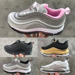 purpurina zapatos bebé niña Rebajas Nike air max 97 Glitter LX Kids Runing Shoes boys runner Silver Pink Blue Black Niños al aire libre niños pequeños atléticos niños niñas Zapatillas de deporte infantiles