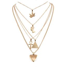 Piramidal colgante collar de oro online-Collar de diseño Collar de Múltiples Capas de Oro Hoja de Arce Faraón Pirámide Corazón Collares Envoltura Collares Colgantes Apilamiento Joyería de las mujeres