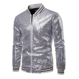 2020 pailletten-tanzjacken Männer Mäntel Mode Pailletten Glänzende Jacken New-Mann-Partei Bar Garment Tanz Mantel Sequin Outfits Jacke Outwear Jacken Männlich rabatt pailletten-tanzjacken
