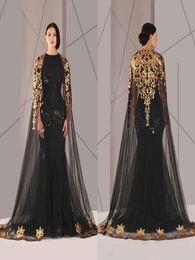 черные кружевные плащи Скидка Arabic Формальные Pageant Вечерние платья с плащом Gold Lace Плюс Размер Black Sequined Vestidos De NOVIA Повод платья выпускной вечер