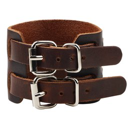 herren-dornschließe armbänder Rabatt Mens Classical Double Leather Buckles Einstellbare breite Lederarmbänder, Punk Bangles Bracelets