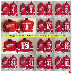ali pullover Sconti versione vintage Detroit Red Wings pullover 19 Yzerman 13 Datsyuk 24 chelios 9 HOWE 31 JOSEPH 1 Sawchuk 5 Lidstrom CCM Hockey jersey