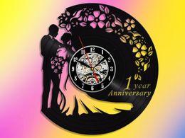 Canada 1er anniversaire cadeau horloge murale en vinyle premier anniversaire disque vinyle record cadeau anniversaire de mariage cadeau pour femme horloge supplier first wedding anniversary gifts Offre