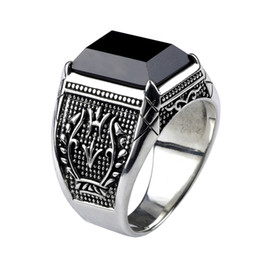 Anéis de obsidiana on-line-Anel Homens do vintage Real Pure 925 Sterling Silver Jóias Preto Anéis de Pedra Natural Obsidian Para Mens Punk Rock Moda C18112301