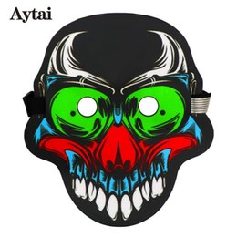 Lueur sombre couvre en Ligne-Aytai Full Face Party Halloween Masques son de la voix LED Cool Control Party Dancing Light Masque Couverture Glow In Dark Blazing