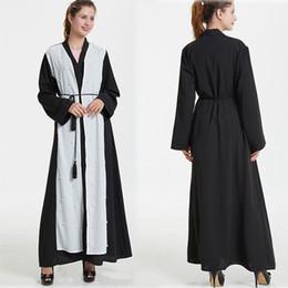 más tamaño maxi cardigans Rebajas 2019 Vestido Abaya musulmán Tallas grandes Dubai Mujeres Musulmanas Open Front Cardigan Vintage Islámico Largo Maxi Vestido de perlas # AY3