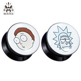 Auriculares logos on-line-Kubooz Body Piercing Jóias Ear Plugs Túneis Acrílico Expander Imagem Logo Medidores Parafuso Brincos Maca Moda Jóias SH190727