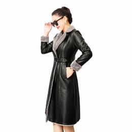 2019 chaqueta de cuero mujer s morado Abrigos largos de las mujeres Abrigos largos de gran tamaño Cálido de piel Parkas Moda de alta calidad Nueva Mujer Otoño Invierno chaqueta de cuero genuino FC10