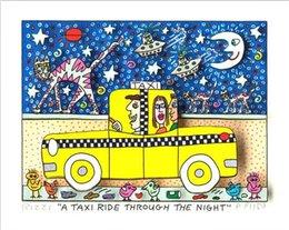 """2019 marcos de la pared pinturas al óleo paisaje James Rizzi """"Un viaje en taxi CON LA NOCHE"""" Decoración Artesanías / impresión de HD pintura al óleo sobre lienzo arte de la pared de la lona representa 191217"""