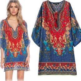 vestito europeo femminile Sconti Vestito africano del dashiki Vestito femminile europeo ed americano del nastro della stampa del vento nazionale delle nuove donne europee