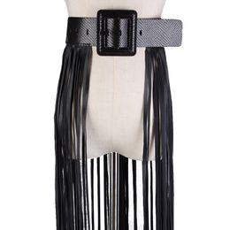 Falda de cuero de imitación de cintura alta online-Streetwear Gothic Punk Snake Print Hebilla Cinturón ancho Faux Leather Boho Borla larga Falda hueca Accesorios de cintura alta Fiesta Sexy