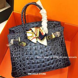 bolsa de crocodilo genuína Desconto Designer de Luxo Bolsas bolsas femininas de couro genuíno couro Bags rígido Crocodile clássico óssea Casual Ombro Totes Marca Bolsas Lady mão